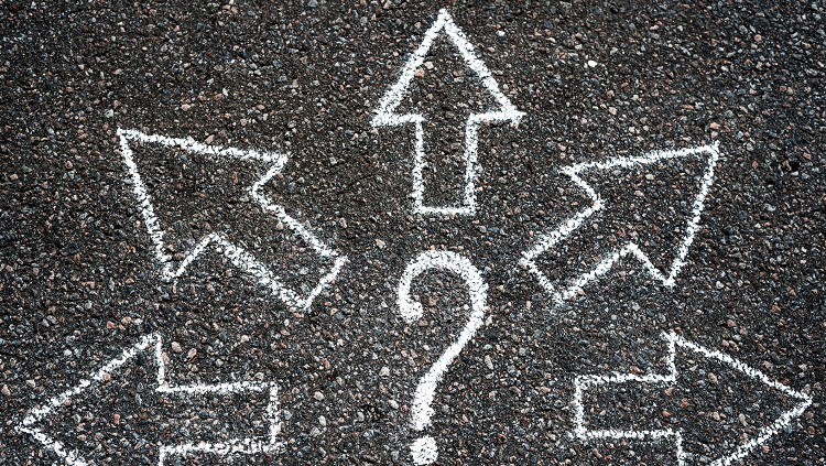 chalk arrows with question mark