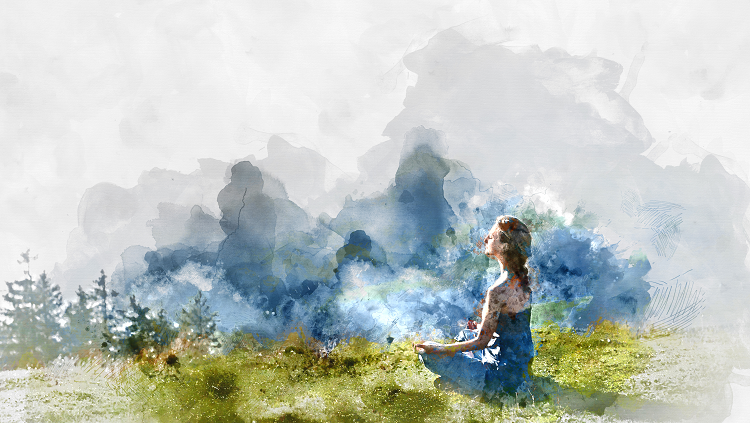 Abstract painting of a woman meditating on a mountain