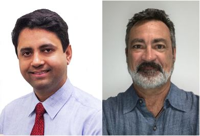Photo of Munjal Acharya, PhD, Assistant Professor, University of California, Irvine and Charles Limoli, PhD, Professor, Radiation Oncology, University of California, Irvine.