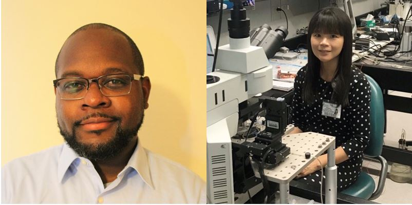 Side by side pictures of Post-doctoral fellows Reginald Cannady, PhD (left) and Sudarat Nimitvilai-Roberts, PhD (right)